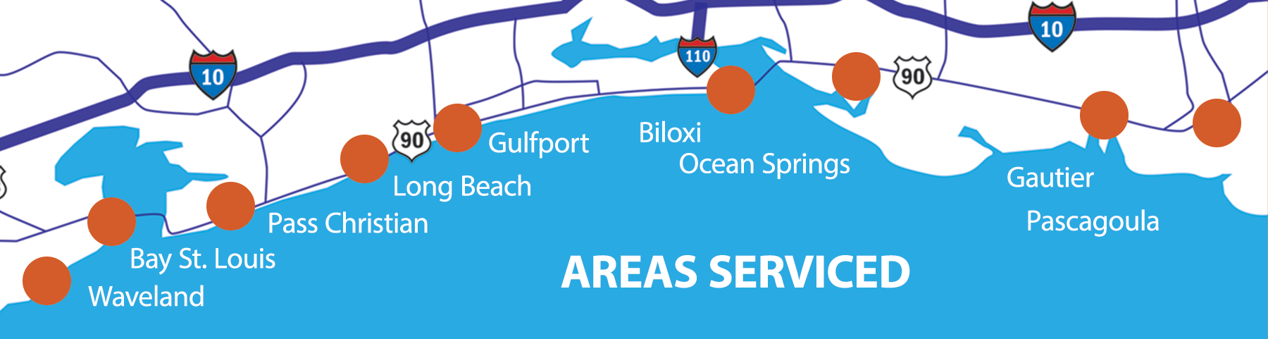 Areas we service on the Mississippi Gulf Coast